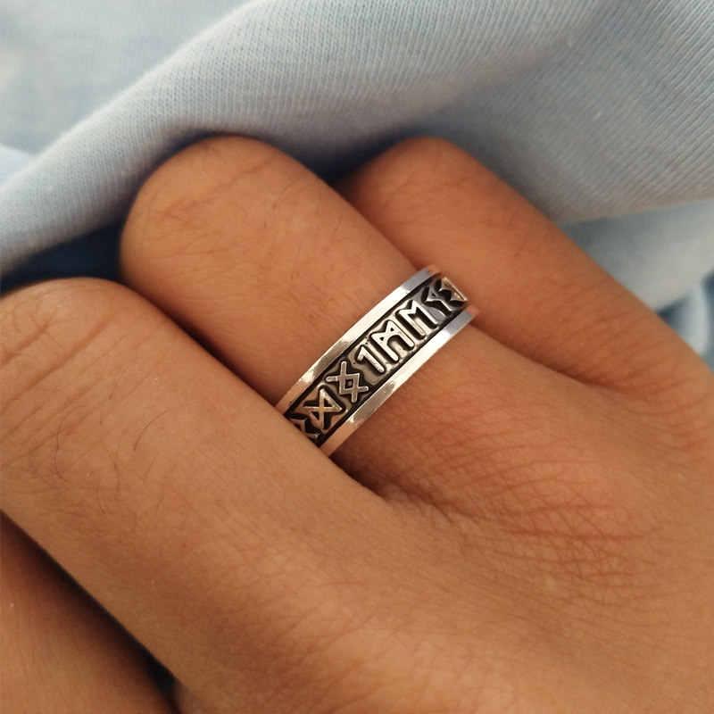 SUTEYI 1pcs ויקינג גברים של טבעות רונה מכתב חותם טבעת חתונה נורדי בציר Bague גברים תכשיטי אביזרי נשים מתנה