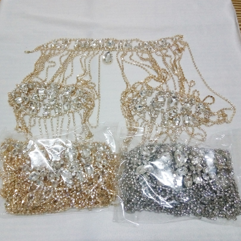 Muslim Gold Silver Shoulder Necklace Crystal Bridal Pageant Wedding Rhinestone Shoulder Jewelry Chain Necklaces for Wedding Gift