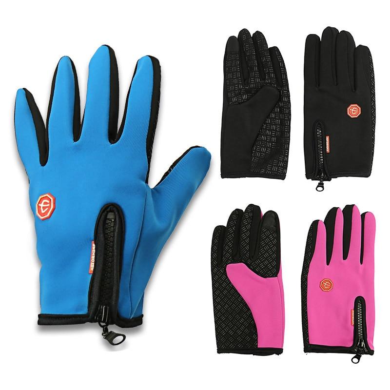 1 Paar 3 kleuren Heren Dames Unisex Duurzaam Zacht Warm Buiten Wandelen Camping Skiën Waterdicht Nylon Handschoen Ski Handschoenen Met Rits