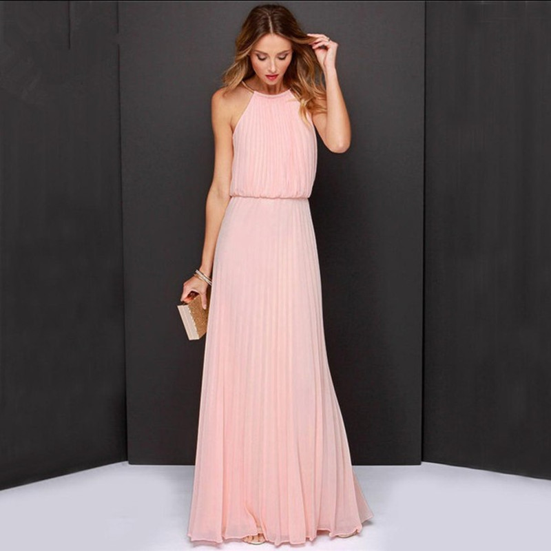 2018 New Womens Solid Party Beach Sophisticated Swing Dress Halter Maxi Sleeveless Summe ...