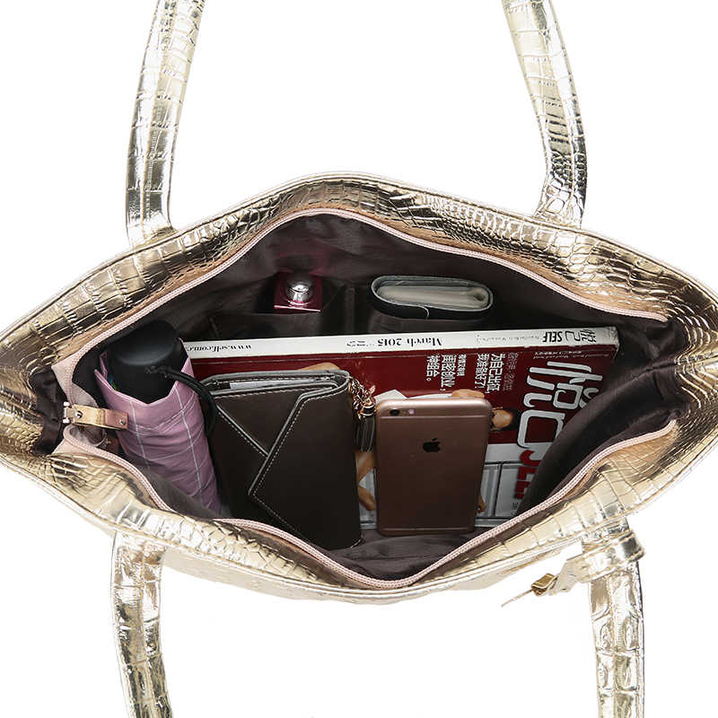 Новые модные женские сумки через плечо из крокодиловой кожи; Цвет серебристый, золотой, черный; женские Сумки из искусственной кожи; большая сумка-тоут; женские ручные сумки; Sac