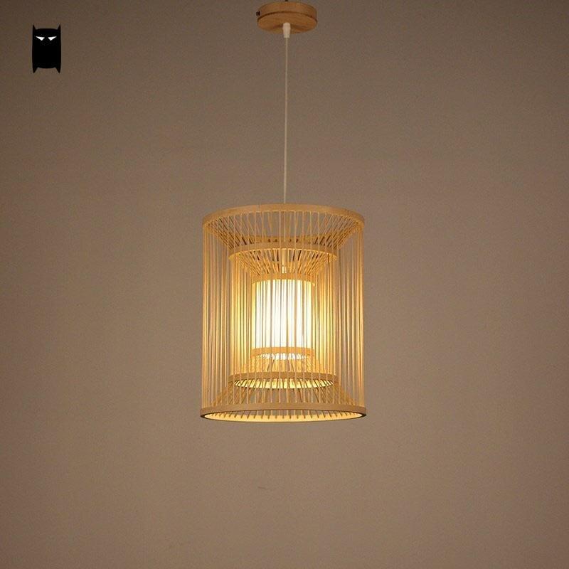 Bamboo Wicker Rattan Lantern Shade Pendant Light Fixture Rustic Country Chinese Japanese Asian Hanging Lamp Avize Luminaria Room