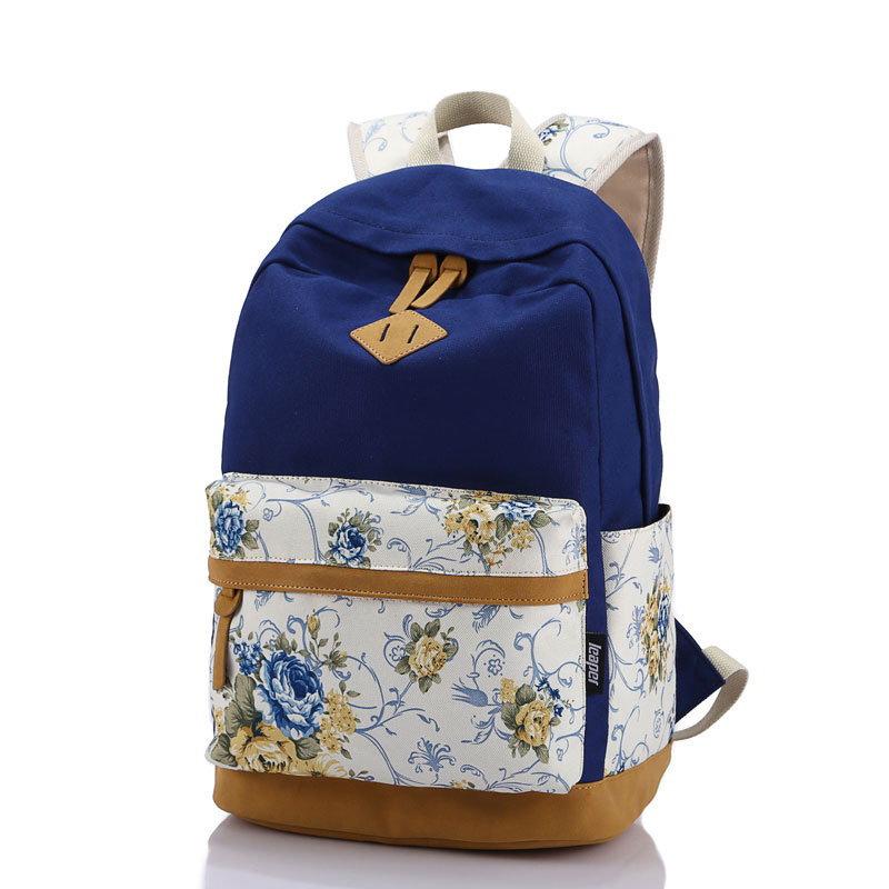 Korean style women bookbags patchwork canvas printing backpack school bags backpacks for teenage girls mochila