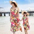 Free Shipping Mother daughter dresses summer colorful Girls Dress Family Matching Outfits women girl holiday long vest dress