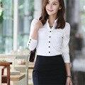 Venda quente das mulheres tops e blusas 2015 novas mulheres da moda blusas blusas camisa chiffon Plus Size preto branco 1602 livre grátis
