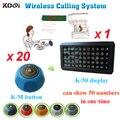 Sistema de chamada de garçom sem fio botão de mesa de uma tela com 20