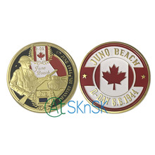 1/3/5/10pcs Canada Infantry Division WW2 D-Day 6.6.1944 Juno Beach Gold Plated Souvenir Coins Collectibles Commemorative Gift(China)
