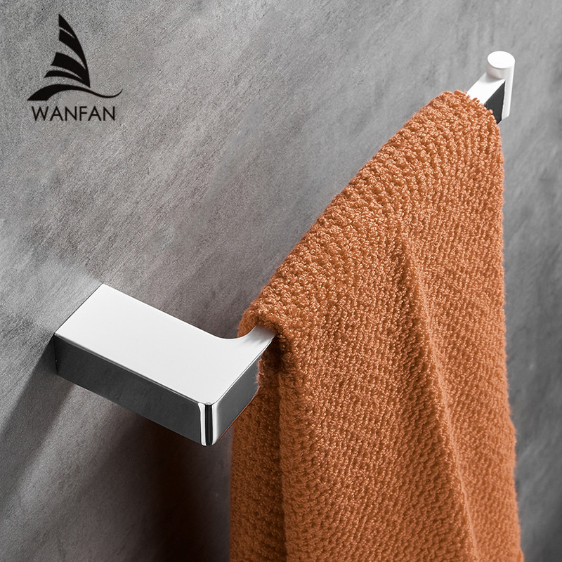 White Wall-Mounted Towel Hook Square Towel Rail Bar Zinc Alloy Towel Rack Holder Polished Towel Ring For Kitchen Bathroom 5780