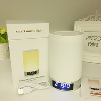 Touch Dimming Clock Alarm Clock Speaker Top Bedside Small Night Lamp Super Long Standby Rechargeable Bluetooth Table Lamp Audio