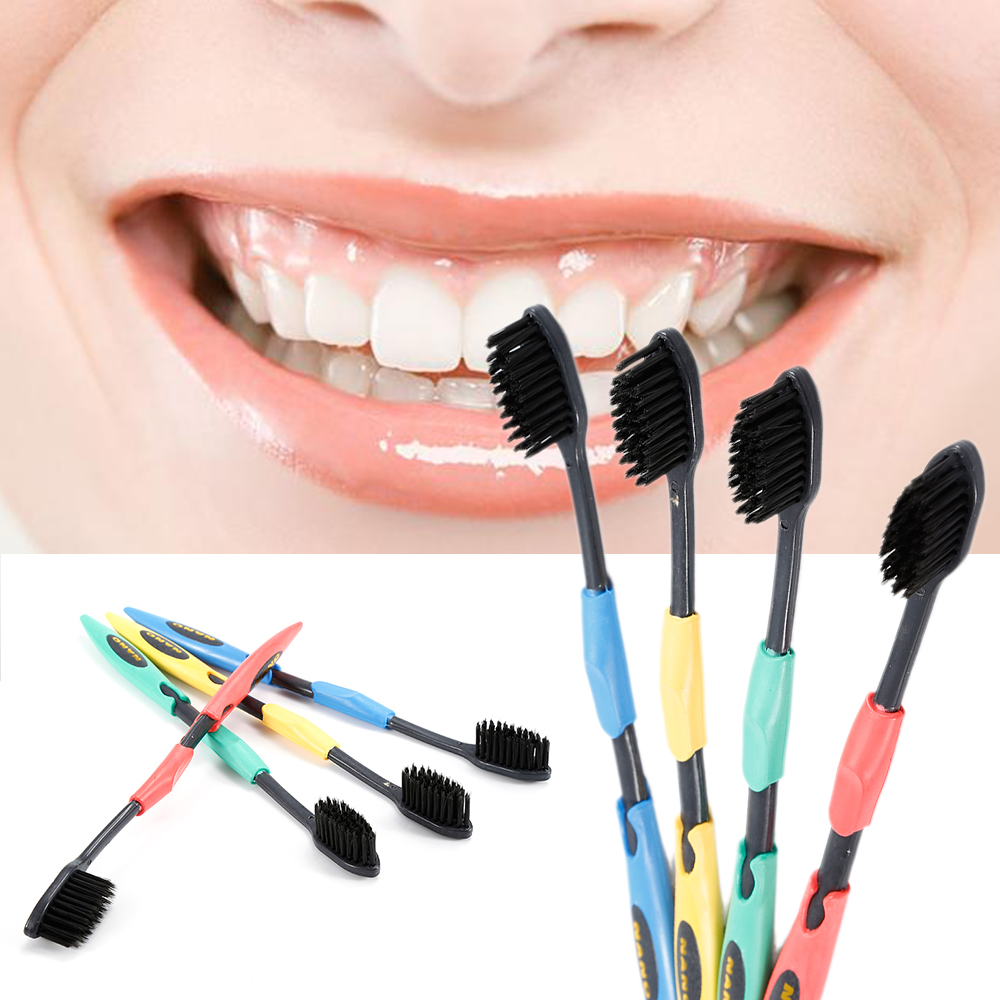 4 Pcs Bamboo Toothbrush Charcoal Soft Oral Dental Care Nano Brush Black Head Brush Adult Tooth Brush Travel Toothbrush image
