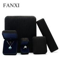 צבע שחור יוקרה FANXI מתכת שרשרת צמיד אריזת קופסא תכשיטי זמש לחתונה טבעת הצעה Flip קופסות קופסא מתנה