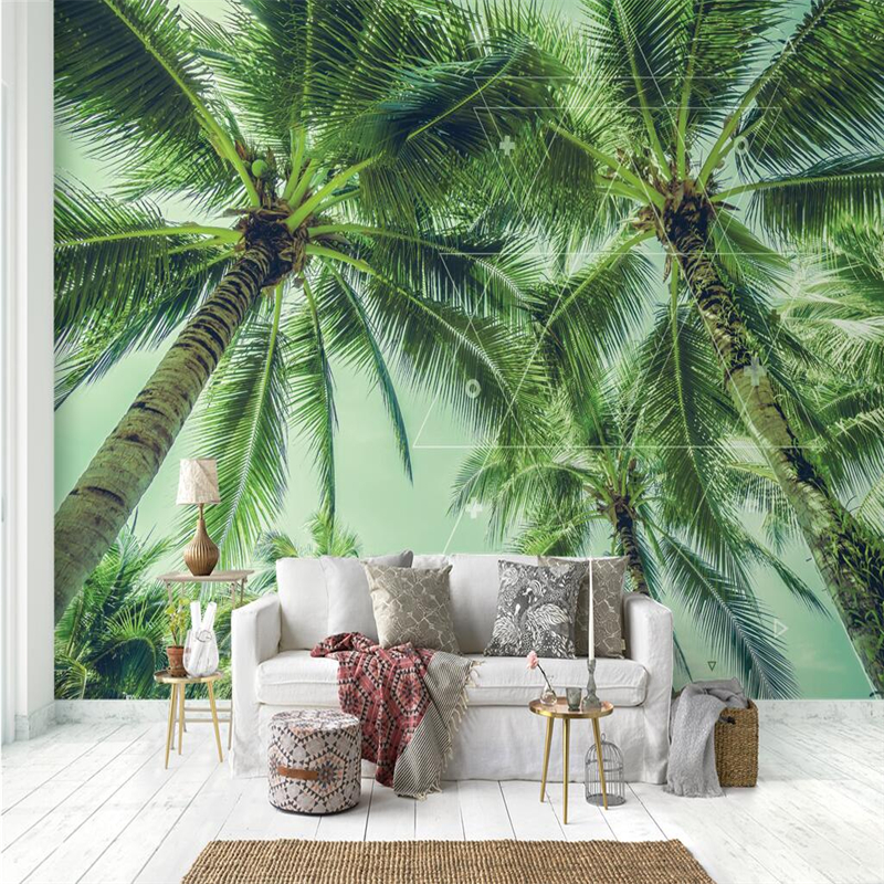 Nordic Green Trees Wallpapers Banana Leaf Photo Wallpapers Wall Murals Nature Wall Papers Home Decor Living Room Bedroom Murals circle mirror photo wallpapers 3d modern abstract murals wall papers home decor wallpapers for living room wall paste wall mural