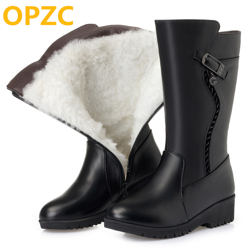 OPZC 2018 new flat genuine leather women boots, large size 41 42 43 women winter boots, thick wool warm female snow boots
