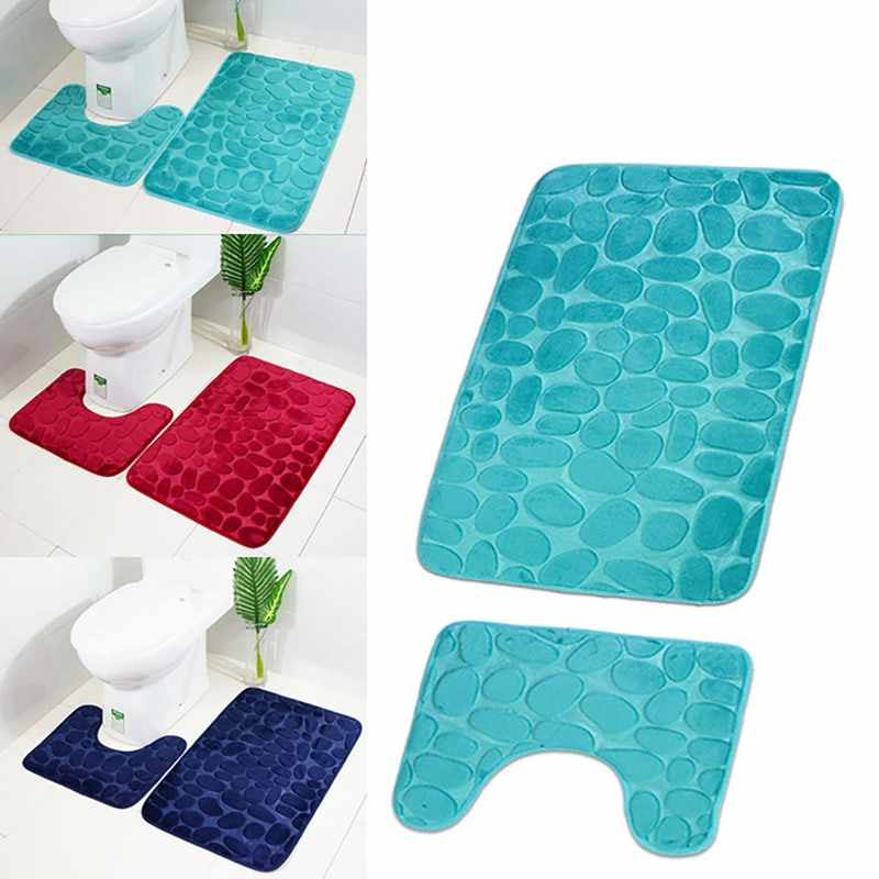 2pcs/set Non-slip Bathroom Bath Mat Set Toilet Rugs Bathroom Carpets Set Home Toilet Lid Cover Shower Room Rug Floor Mats
