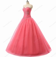 In Stock New Beaded Sweetheart Flowing Skirt Sage Cheap Tulle Quinceanera Dresses Ball Gown Prom Dresses 2 4 6 8 10 12 14 16