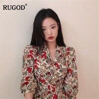 RUGOD 2019 Spring Summer Women Floral Dress V neck Three Quarter Sleeves Single breasted Dress Vintage Temperament Vestidos