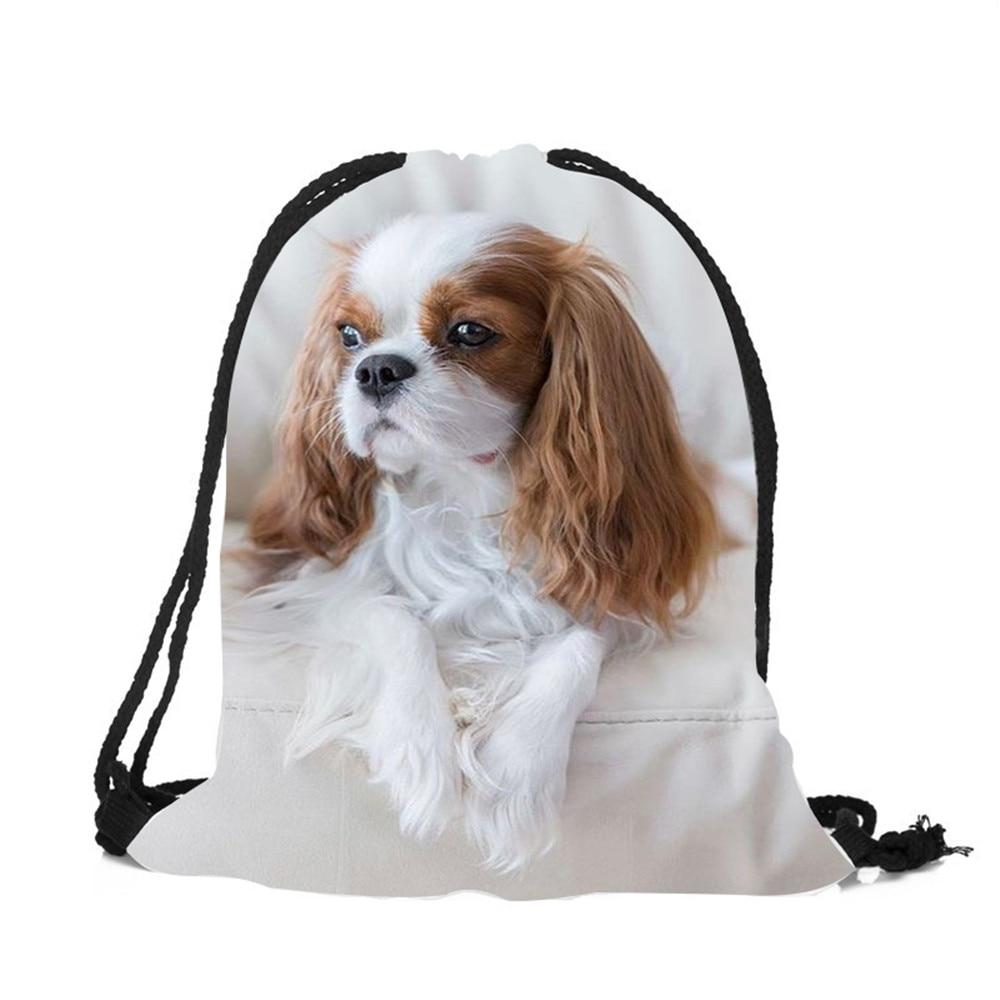 2018 Hot Fashion Animal Charles Spaniel 3D Printed Drawstring Backpack Women Men Travel String Bag Mochilas Mujer Backpack2018 Hot Fashion Animal Charles Spaniel 3D Printed Drawstring Backpack Women Men Travel String Bag Mochilas Mujer Backpack