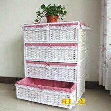 Утолщенный большой ротанговый прикроватный Шкаф детский шкаф для малыша комод Ящик для хранения шкаф для хранения