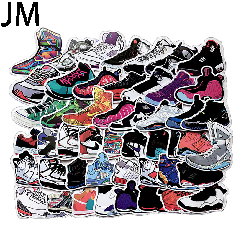 100Pcs AJ Trend Sports Basketball Shoes Painted Stickers Waterproof PVC Refrigerator Travel Suitcase Bicycle Scooter
