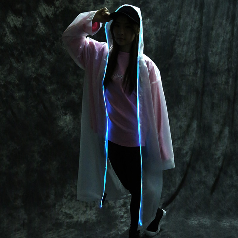 Free shipping 10pcs/lot EL lighting raincoat Grand Event Music festival light raincoat outdoor travel Luminous clothin ...