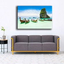 Modern Decor Wall Artwork Natural Landscape Picture 1 Piece Sea Coast Tropical Paradise Beach Ocean Island Boat Canvas Poster