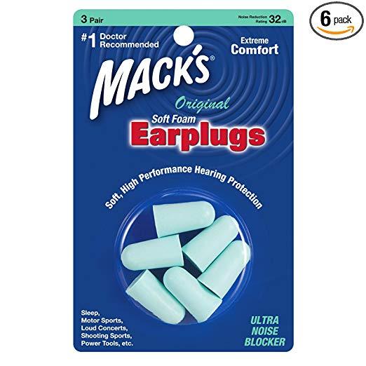Mack's Original Soft Foam Earplugs, 3 Pair (6 Packs) - 32dB HighestMack's 3 pairs foam earplugs green color noise reduction 29db