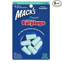 Mack's Original Soft Foam Earplugs, 3 Pair (6 Packs) - 32dB HighestMack's 3 pairs foam earplugs green color noise reduction 29db