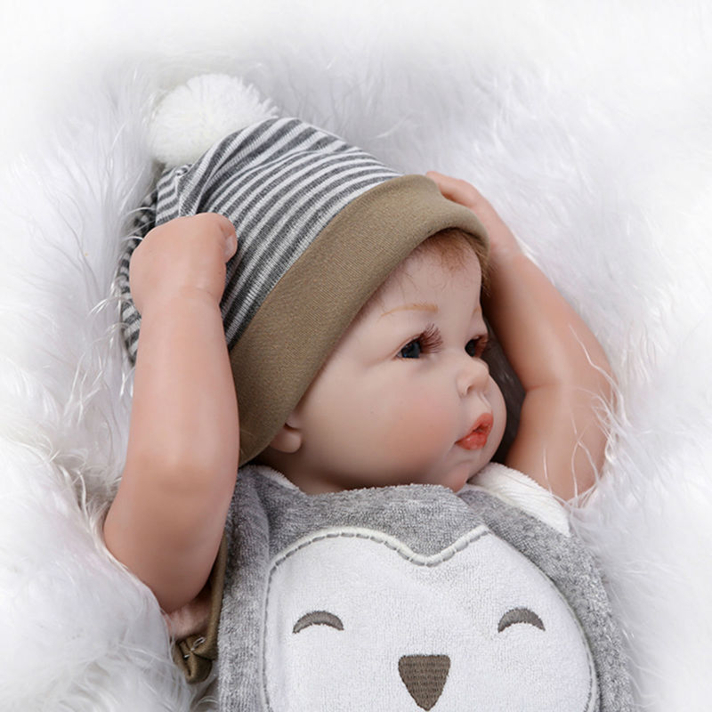 Lovely Newborn Dolls Silicone Reborn Dolls with Clothes Hat,47cm Lifelike Baby Doll Educational Toys for Children short curl hair lifelike reborn toddler dolls with 20inch baby doll clothes hot welcome lifelike baby dolls for children as gift
