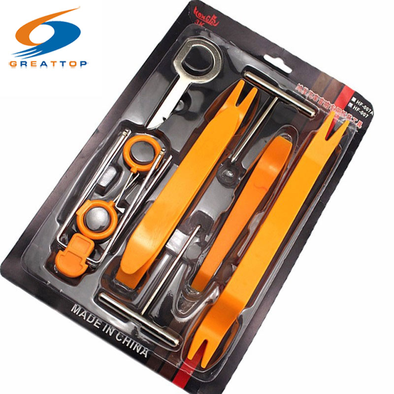 Professional 12pcs Set Plastic Car Radio Door Clip Panel Trim Dash Audio Removal Pry Tool Repairing Set Kit Tool