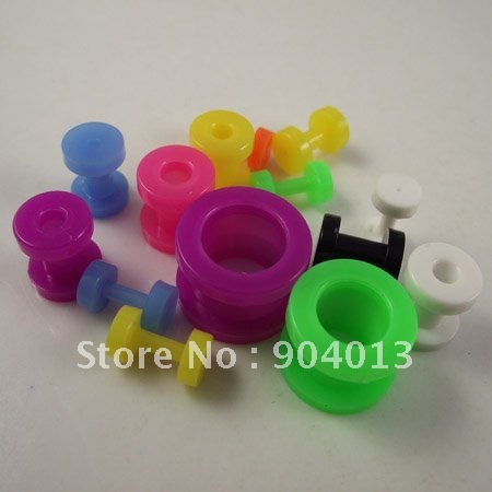 160 шт желе красочные разноцветные Плаги для ушей серьги-гвоздики Плаги УФ пирсинг для тоннелей на теле ювелирные изделия для тела