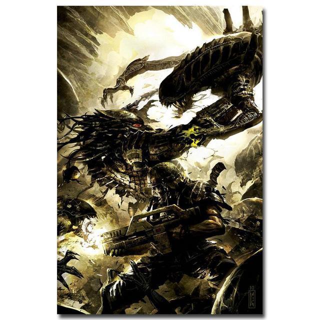 Плакат Гобелен Шелковый Чужой против Хищника 3