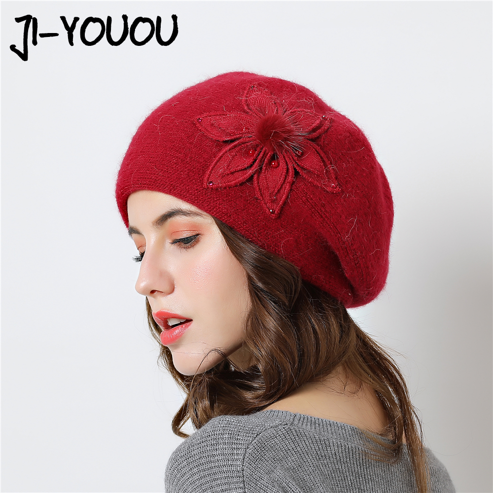 Double layer design winter hats for women rabbit fur warm knitted hat cap   skullies     beanies   2018 New Caps