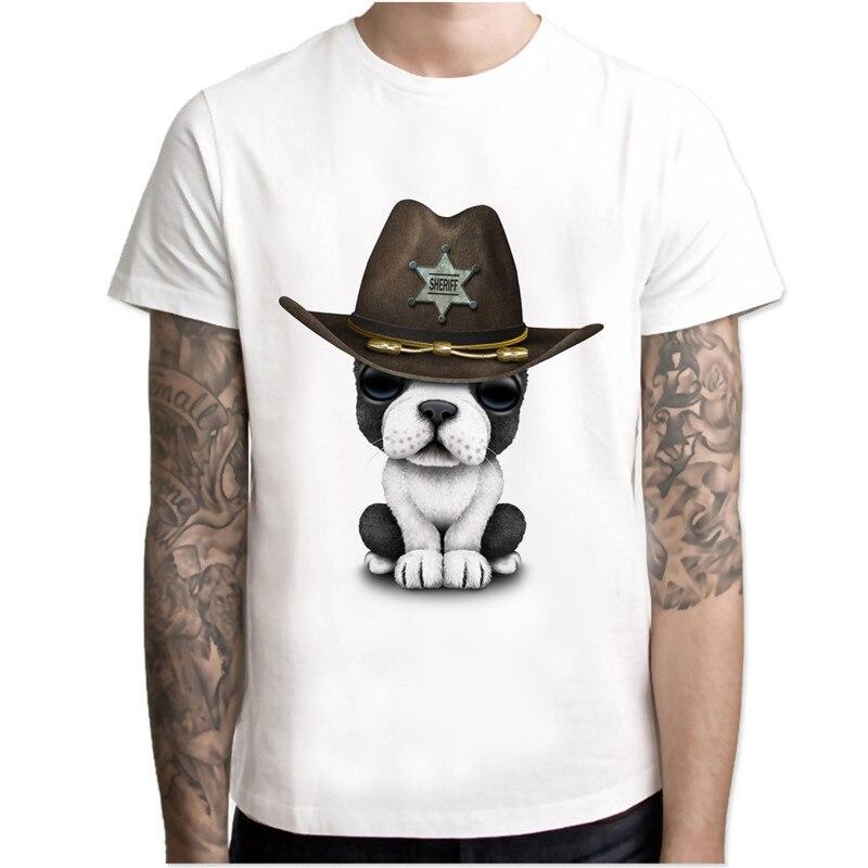 French Bulldog Print Casual Tshirt Mens O-neck T Shirts Fashion Mens Tops Men T-shirt Male Men Mcr141 Men's Clothing