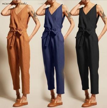 Celmia Summer Plus Size Vintage Women Jumpsuit 2019 Romper Casual Sleeveless