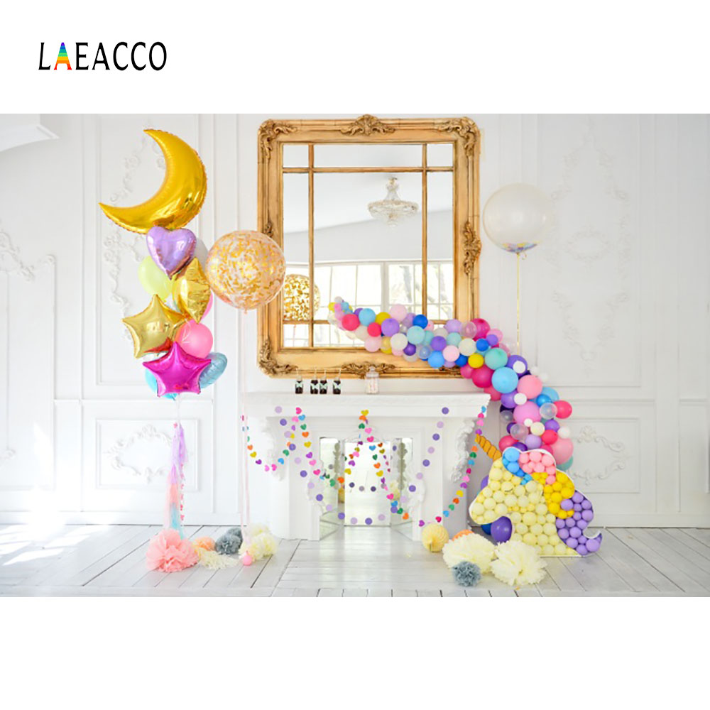 Laeacco Balloons Unicorn Fireplace Birthday Baby Photography Backgrounds Customized Photographic Backdrops For Photo Studio 2017 wooden floor photographic backgrounds children photo backdrops vinyl backgrounds for photo studio baby newborn fotografia