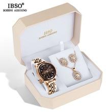 IBSO ブランドクリエイティブ女性の腕時計ネックレスイヤリングコンビネーションセット腕時計金属ストラップレディース腕時計ギフト