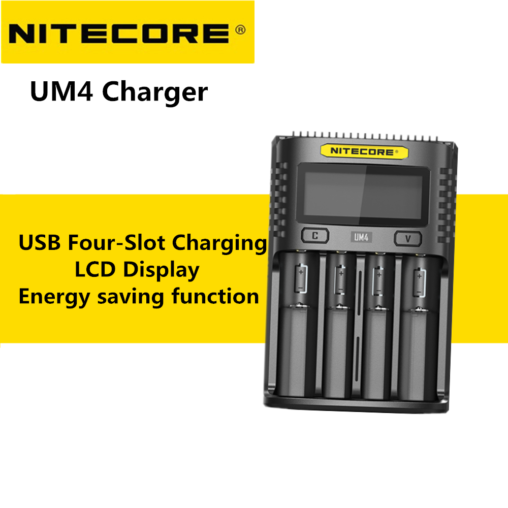 Able Nitecore Um4 Intelligent Usb 4 Slot Charger Lcd Display Multiple Input Sources Available For Li-ion/imr/inr/icr/lifepo4 Battery Accessories & Parts