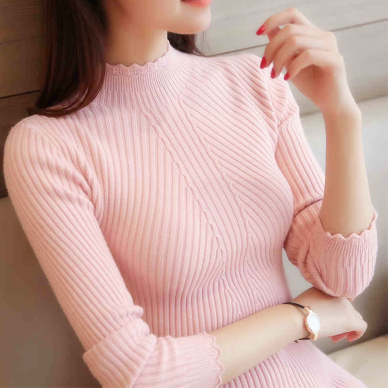 Sale 2019 spring women ladies long sleeve turtleneck slim fitting knitted thin sweater top femme korean pull tight casual shirts