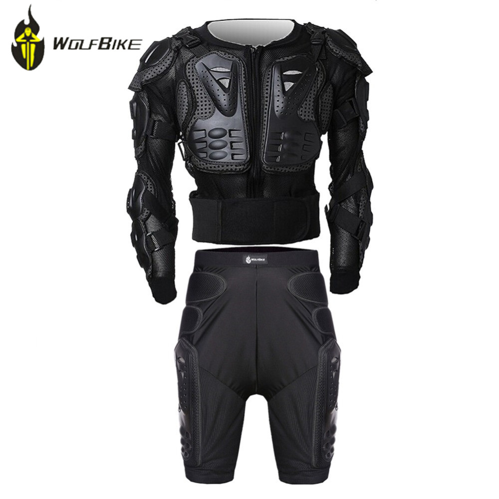 WOLF BIKE Protectie Gears Jacket+Pants Armor Clothes Set MTB Bike Leg Knee Pads Resistance Racing Motocross Armor Knee Support catalog vstavki icon d3o armor pass pants single html