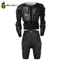 WOLF BIKE Protectie Gears Jacket+Pants Armor Clothes Set MTB Bike Leg Knee Pads Resistance Racing Motocross Armor Knee Support