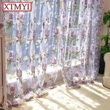 Estilo europeo púrpura floral tulle cortinas para la sala de estar dormitorio cocina moderna cortinas persianas chino por encargo