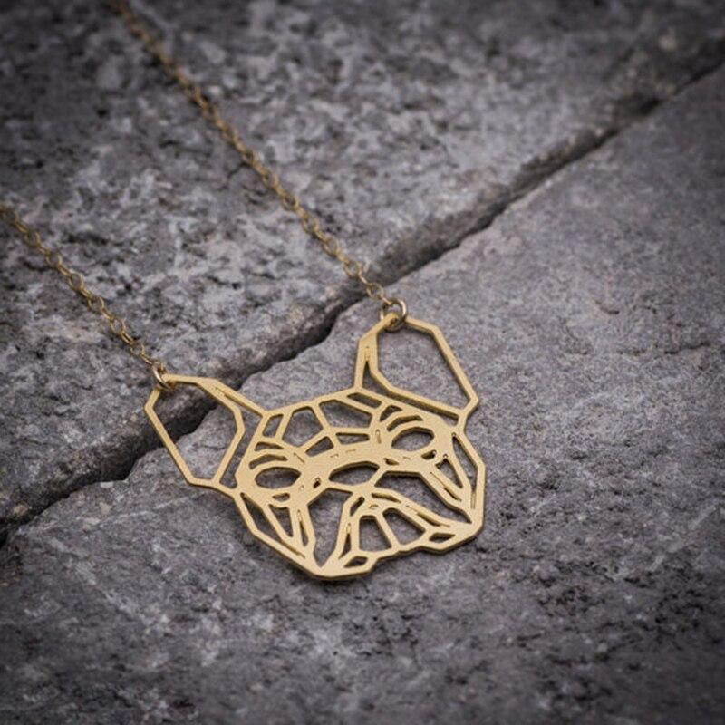 trendy cute animal bulldog necklace dog pendant women gold silver plated geometric jewelry free ship 12pcs/lot