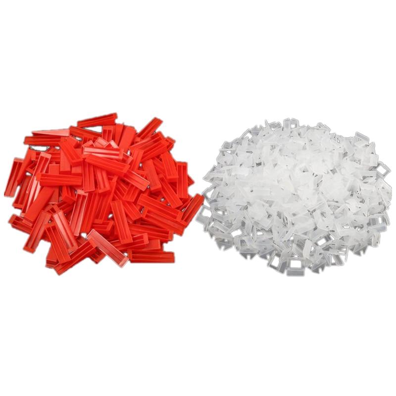 300Pcs Plastic Ceramic Tile Leveling System 200 Clips+100 Wedges Tiling Flooring Tools Wedges Clips