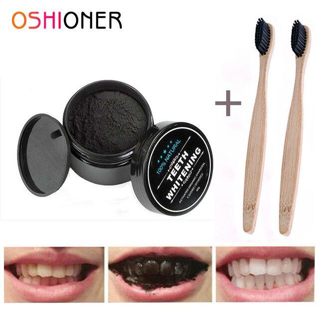 OSHIONER 30g blanqueamiento de dientes Cuidado Oral carbón Natural en polvo de carbón activado en polvo blanqueador de dientes de higiene Oral