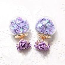 Wishing korea sided fine pearl star stud rose double earrings flower