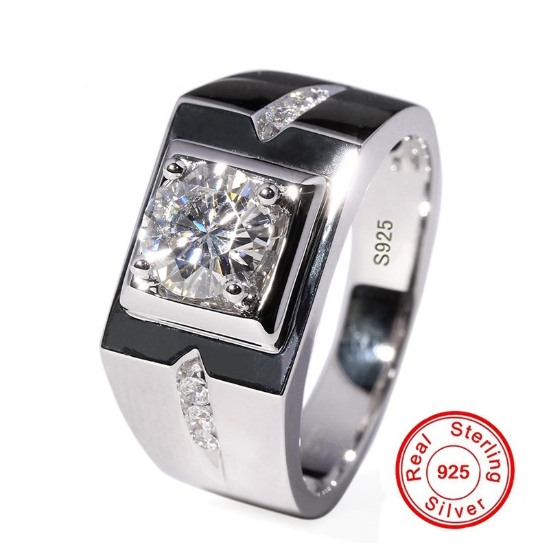 Solitaire male ring 925 Sterling Silver 0.6ct AAAAA CZ Diamant Engagement Jewelry Wedding Rings for Men Finger ring