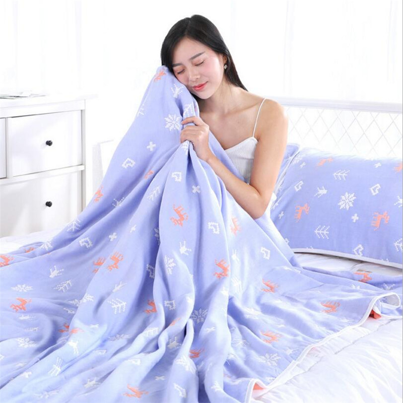180 220CM muslin cotton sleeping blanket many patterns summer air conditioner room nap blanket 6 layers