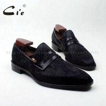 Cie/Туфли-Пенни с квадратным носком; черные туфли из конского волоса на заказ; кожаные ботинки мужские дышащие Лоферы ручной работы из натуральной телячьей кожи без шнуровки; 126