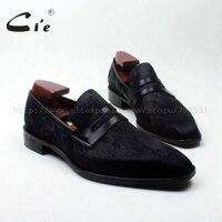 قرش cie ساحة تو حذاء أسود شعر الخيل مفصل اليدوية العجل الجلد جلد رجل حذاء تنفس حقيقية الانزلاق على loafer126
