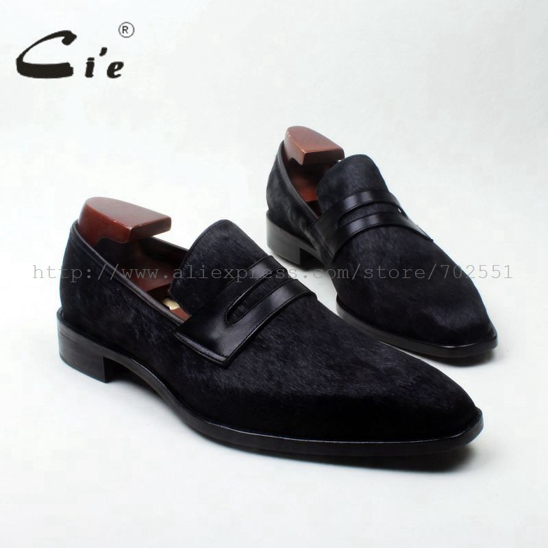 DealñMan Shoe Horse-Hair Toe-Penny Loafer126 Black Slip-On Genuine Calf Breathable Square